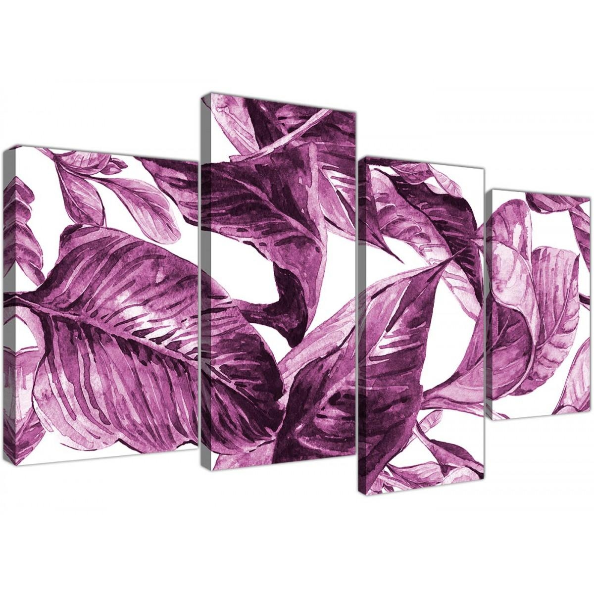 Large Plum Aubergine White Tropical Leaves Canvas Wall Art – Multi Throughout Aubergine Wall Art (Image 11 of 20)