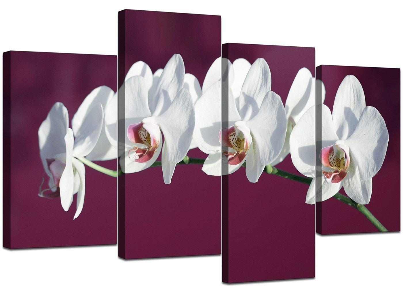 Large Plum White Floral Orchids Canvas Wall Art Prints Pictures Pertaining To Plum Coloured Wall Art (Image 12 of 20)