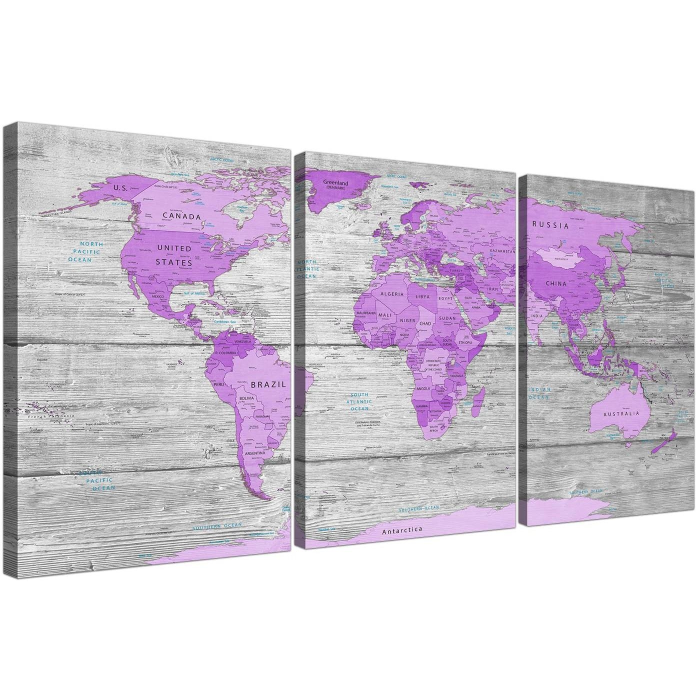 Large Purple And Grey Map Of World Atlas Canvas Wall Art Print Within Atlas Wall Art (View 20 of 20)