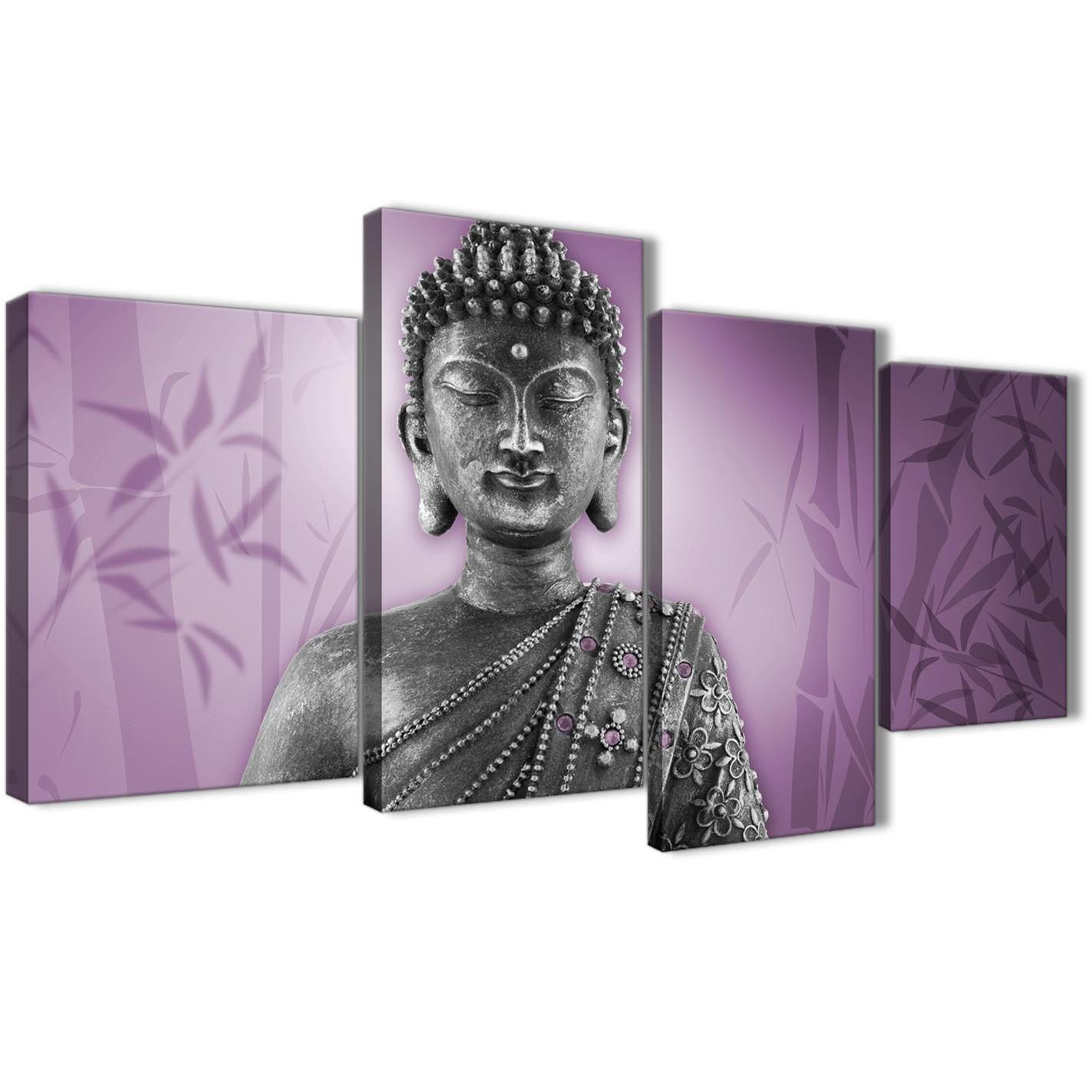 Large Purple And Grey Silver Canvas Art Prints Of Buddha – Multi 4 Within Silver Buddha Wall Art (Image 10 of 20)