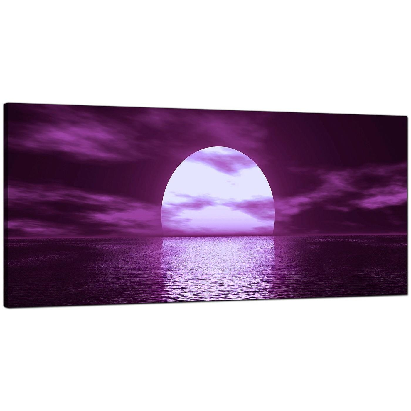 Large Purple Canvas Art Of A Sea Sunset For Purple Canvas Wall Art (Image 12 of 20)
