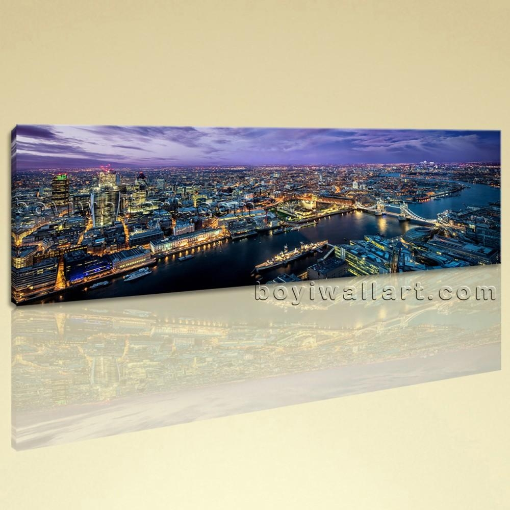 Large Rain London Landscape Wall Art On Canvas Print Home Decor Within Canvas Landscape Wall Art (Image 13 of 20)