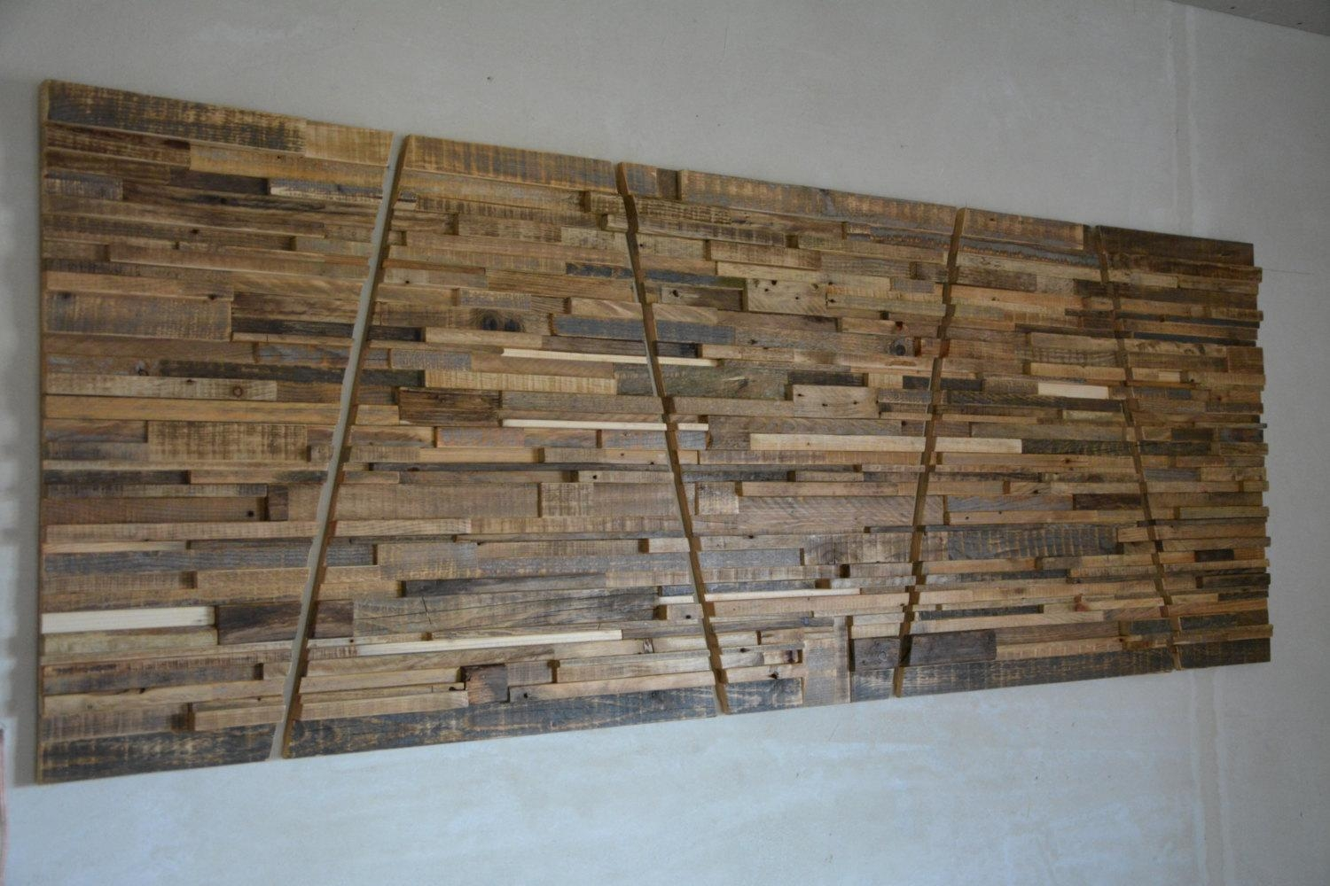 Large Reclaimed Wood Wall Art 80 X 30 X With Regard To Large Unique Wall Art (Image 7 of 20)