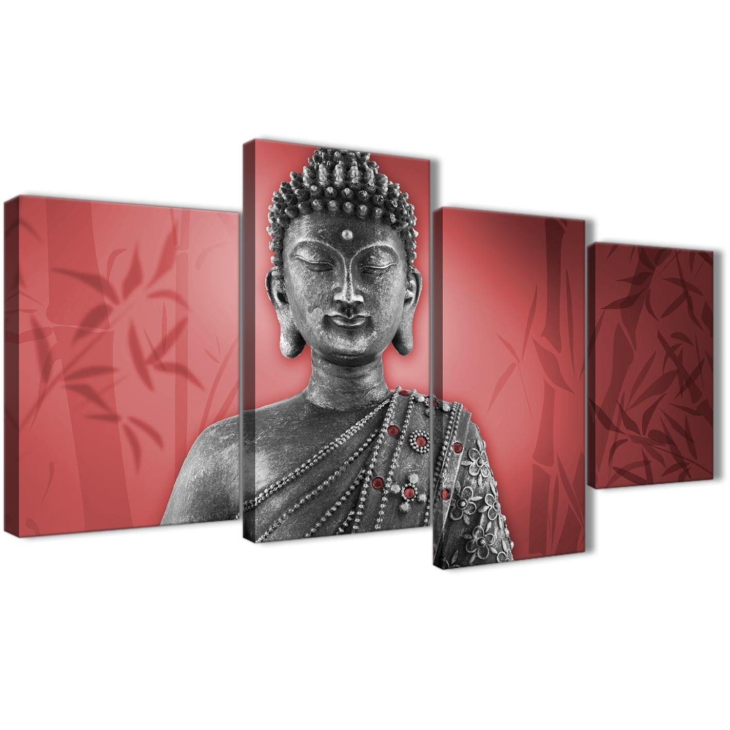 Large Red And Grey Silver Canvas Art Prints Of Buddha – Split 4 Intended For 4 Piece Wall Art (View 17 of 19)