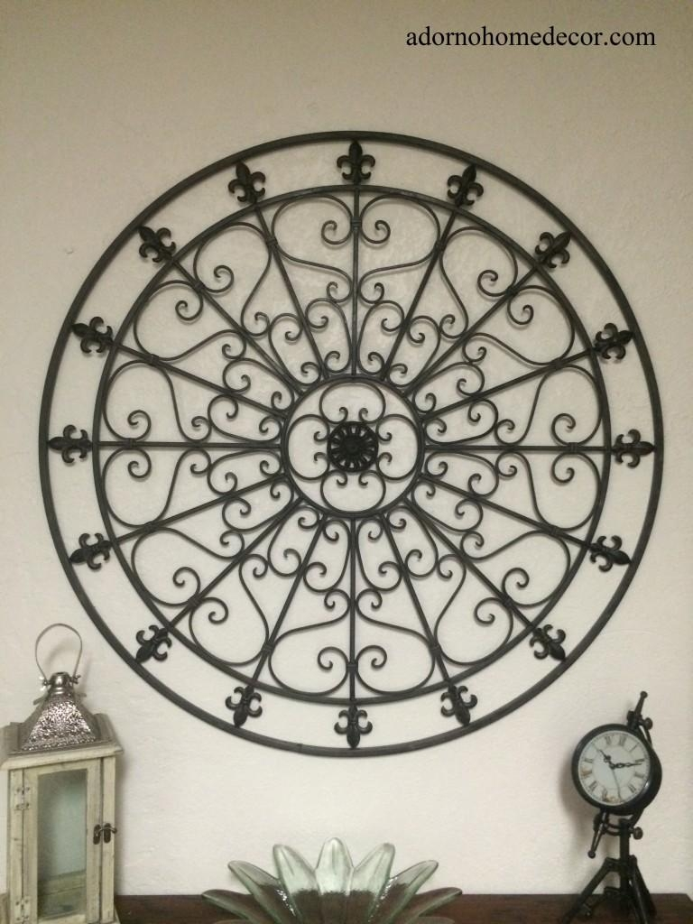Large Round Wrought Iron Wall Decor Rustic Scroll Fleur De Lis In Fleur De Lis Metal Wall Art (Image 10 of 20)