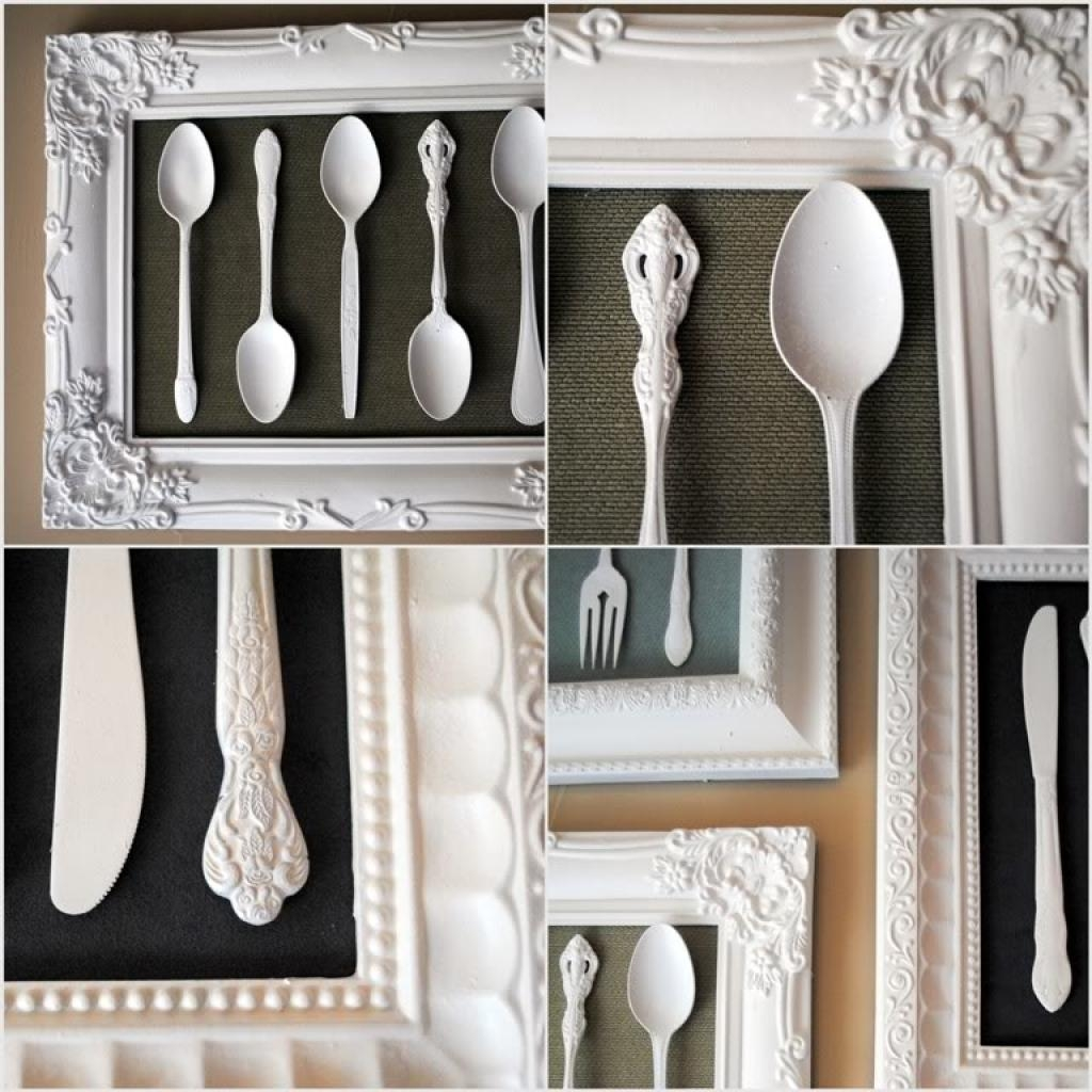 Large S/3 Silver Fork Knife Spoon Wall Decor Metal Utensil Art 36 In Large Utensil Wall Art (View 9 of 20)