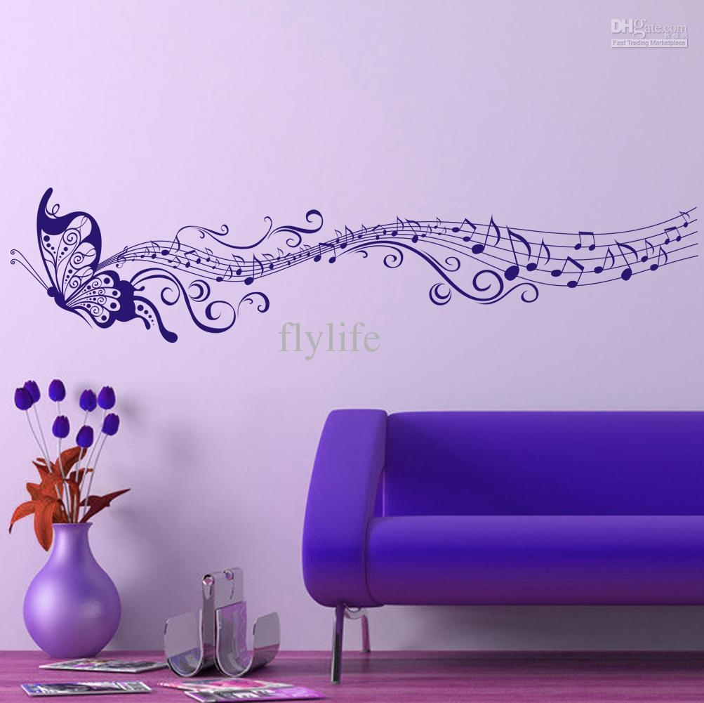 Large Singing Purple Butterfly Wall Stickers Home Decor Art Intended For Butterflies Wall Art Stickers (View 2 of 20)