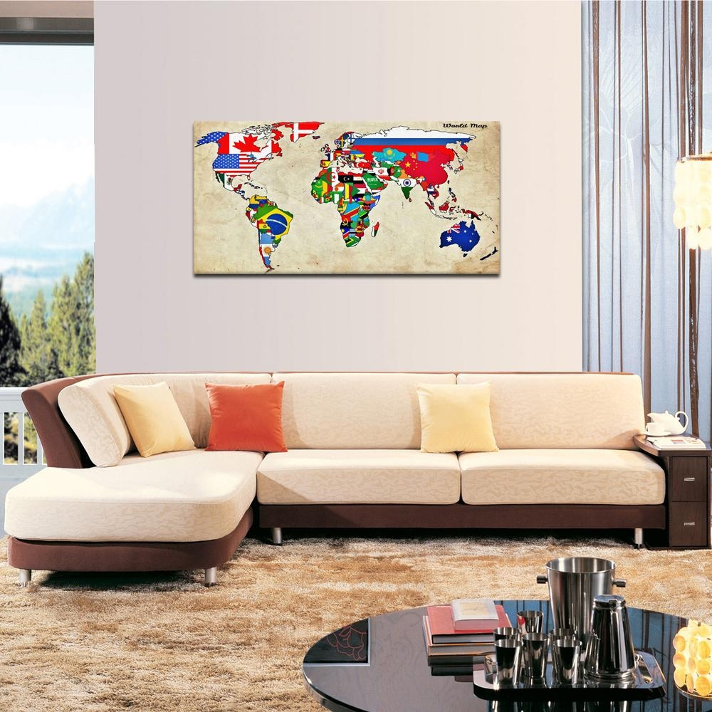 Large Size Wall Art World Map Painting On Canvas Prints National Throughout Sofa Size Wall Art (View 3 of 8)