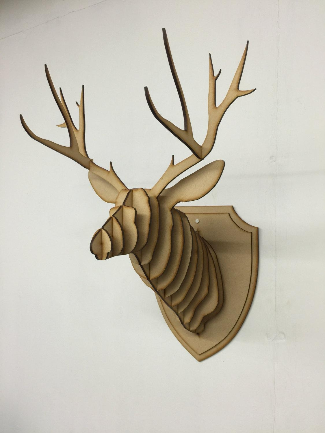 Large/ Small Wooden Deer Head Kit Wall Art Decor Laser Cut Within Stag Wall Art (Image 14 of 20)