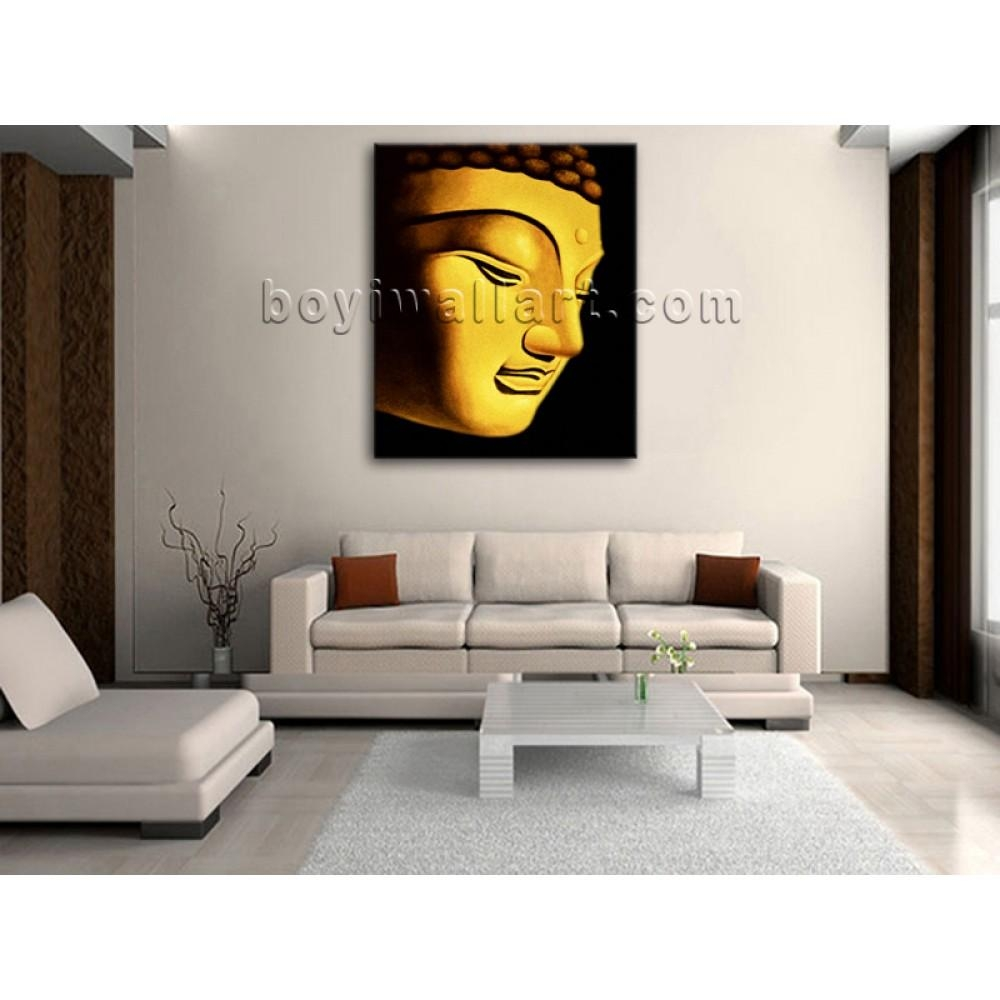 Large Stretched Canvas Prints Modern Feng Shui Buddha Head Throughout Feng Shui Wall Art (Image 11 of 20)