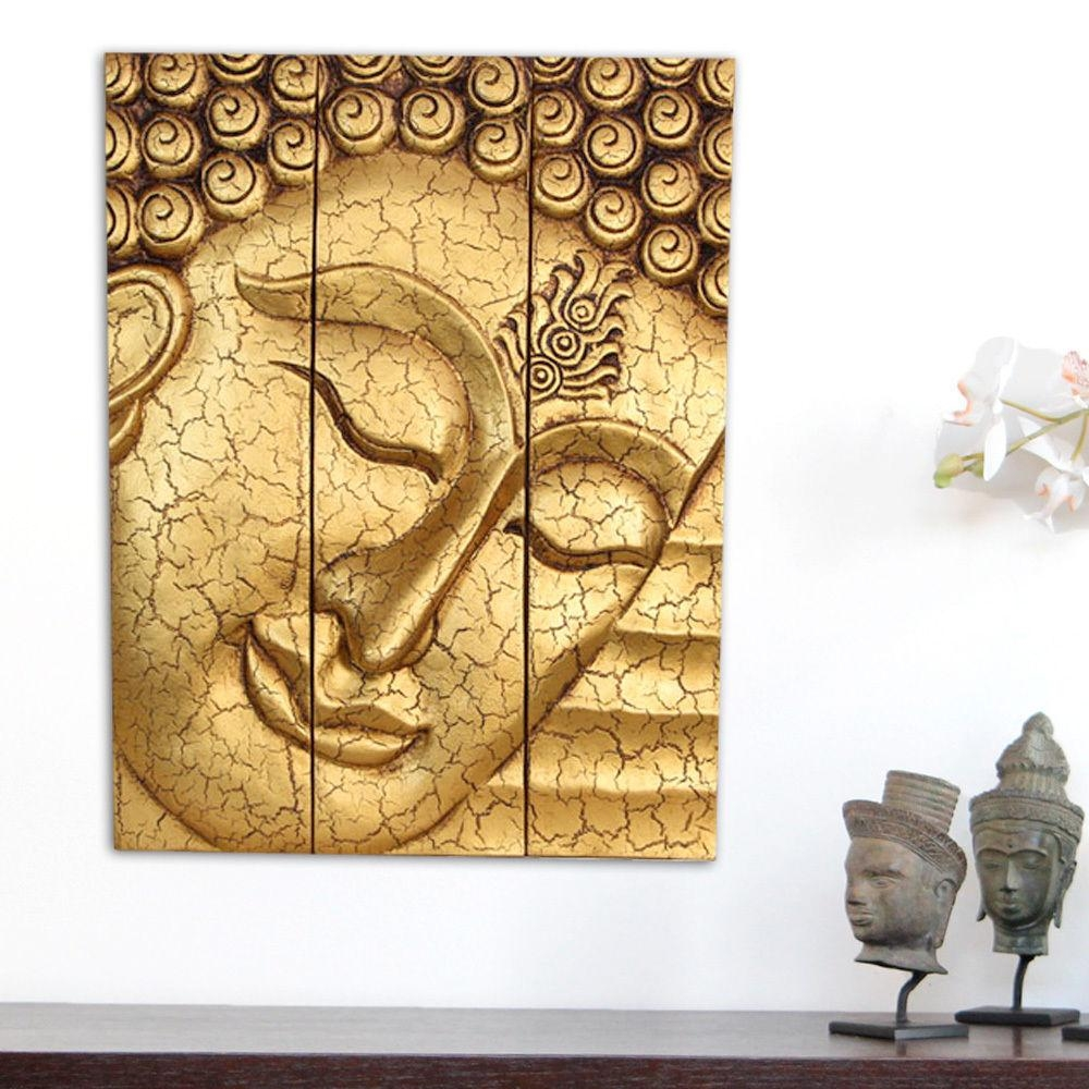 Large Thai Buddha Face Statue Wooden Carved Wall Art Hanging Within Buddha Wood Wall Art (Image 8 of 20)
