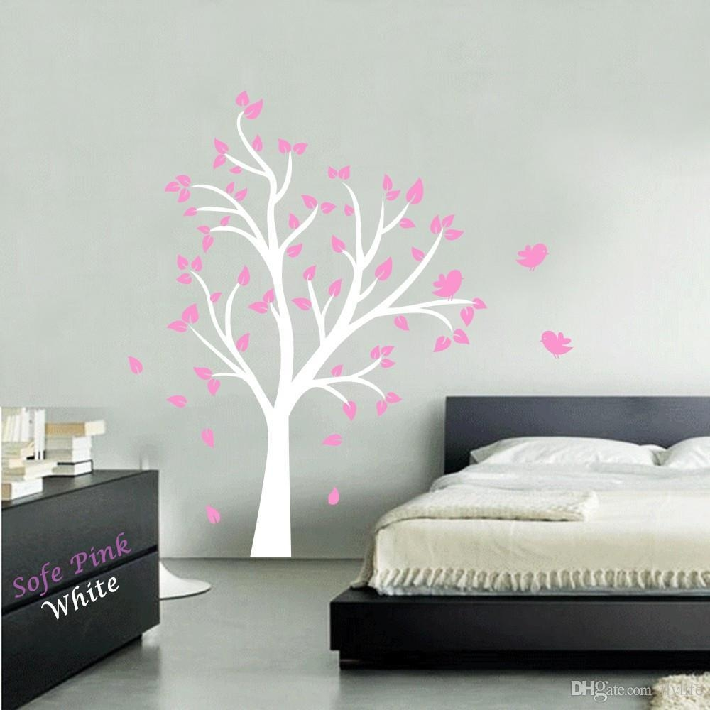 Large Tree And Birds Vinyl Wall Decal Stickers For Baby Nursery For Vinyl Wall Art Tree (Image 9 of 20)