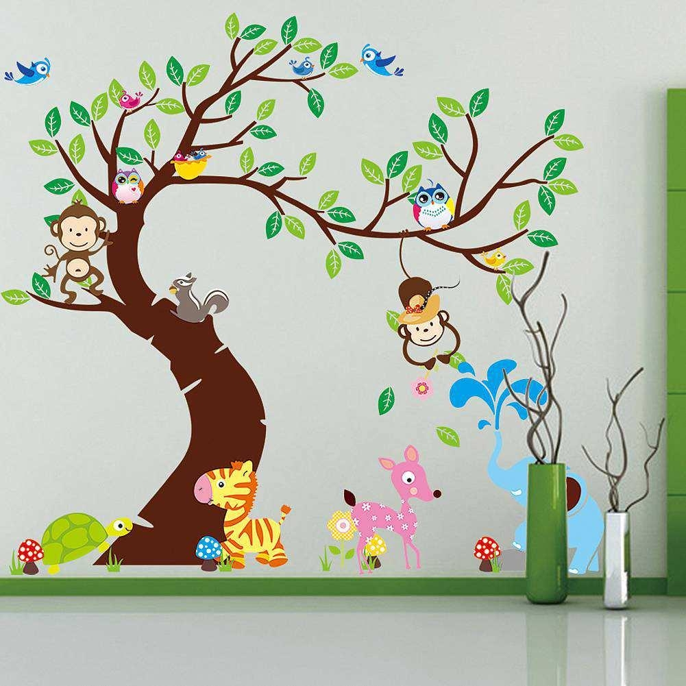 Large Tree Animals Monkey Owl Wall Stickers | Wall Decals Inside Owl Wall Art Stickers (View 15 of 20)