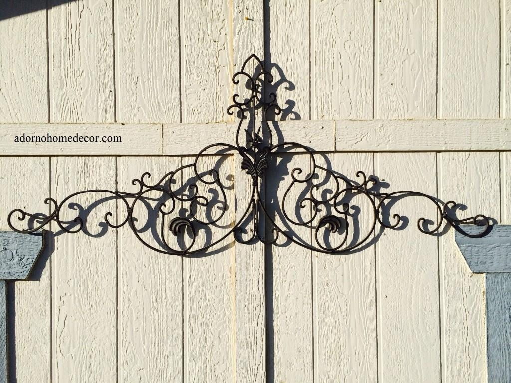 Large Tuscan Wrought Iron Metal Wall Decor Rustic Antique Garden Within Tuscan Wrought Iron Wall Art (Image 7 of 20)