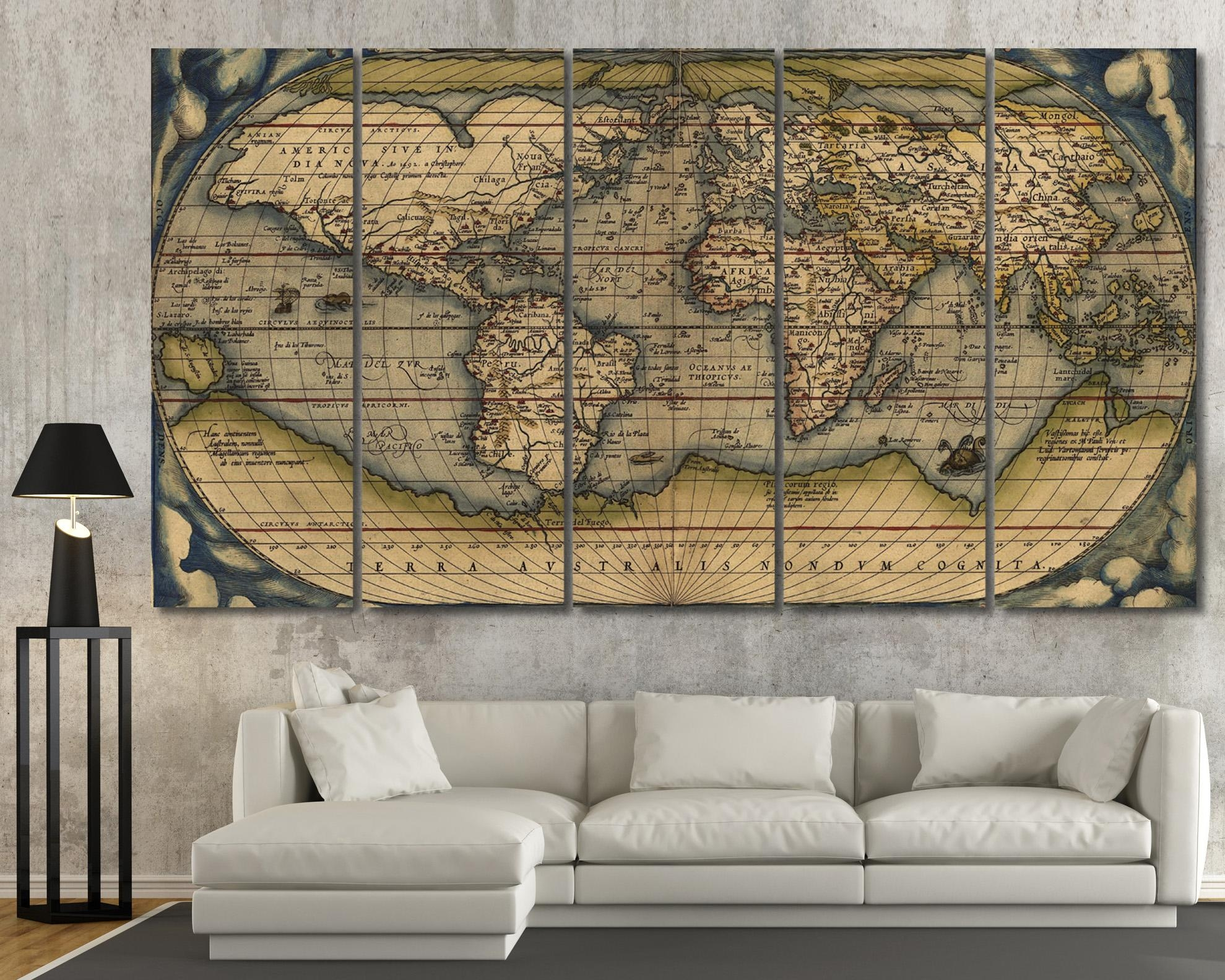 Large Vintage Wall Art Old World Map At Texelprintart Within Map Wall Art (Image 10 of 20)