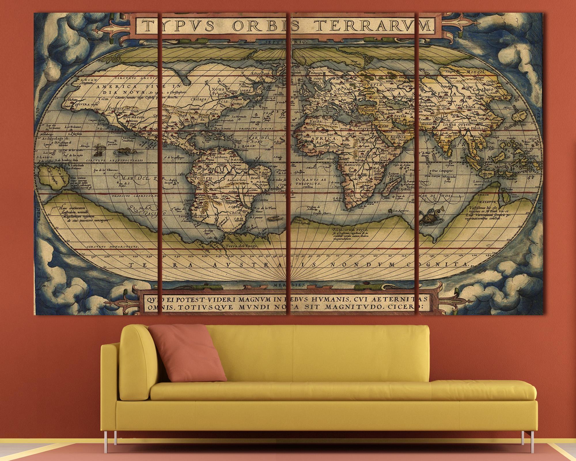 Large Vintage World Map 3 Panel Wall Art At Texelprintart Regarding 4 Piece Wall Art (Image 13 of 19)