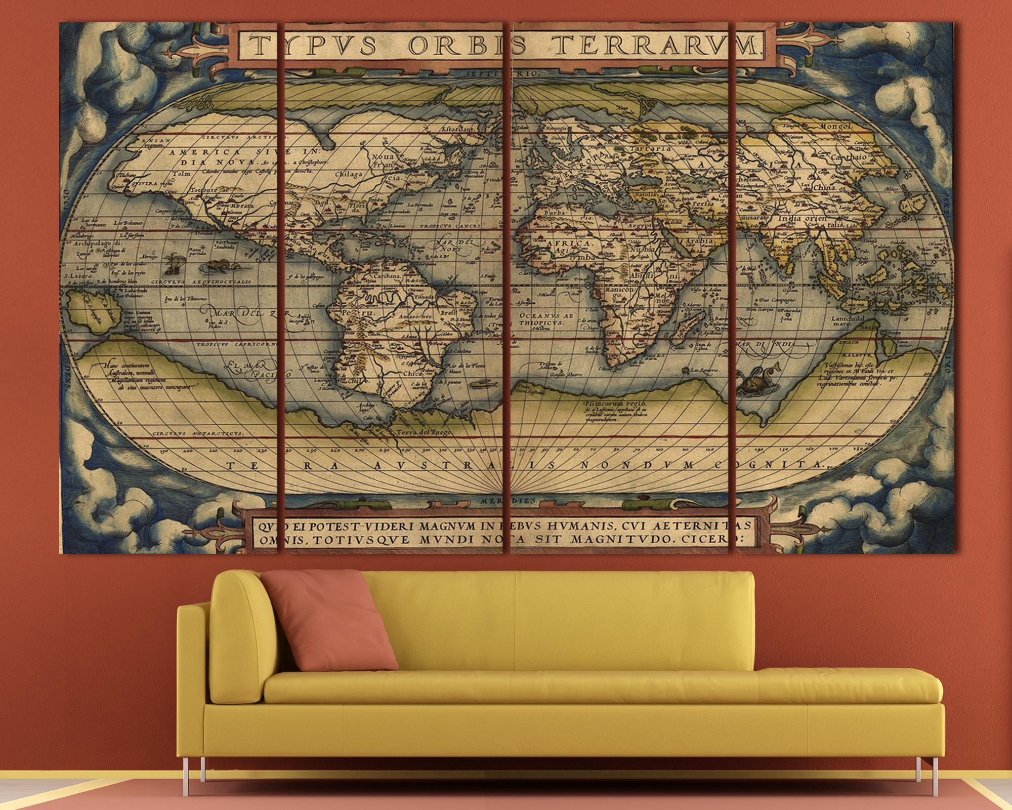 Large Vintage World Map 3 Panel Wall Art At Texelprintart Throughout Vintage Map Wall Art (View 4 of 20)