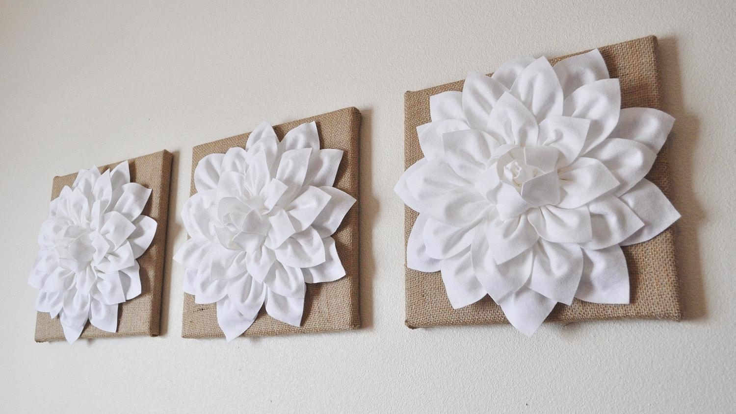 Large Wall Art 14 X 14 Burlap Set Of Three White Dahlias On Inside Large White Wall Art (View 5 of 21)