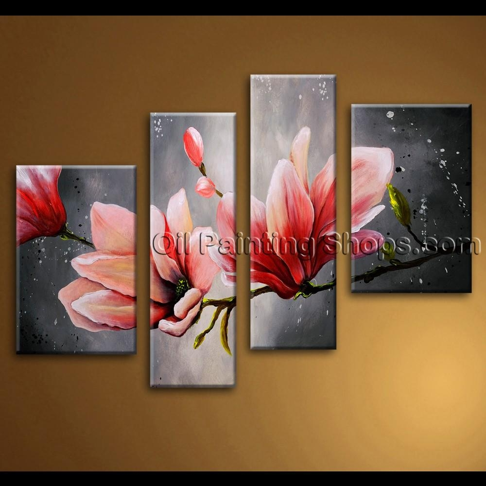 Large Wall Art Abstract Floral Oil Painting On Canvas Tulip Regarding Huge Wall Art Canvas (Image 9 of 20)