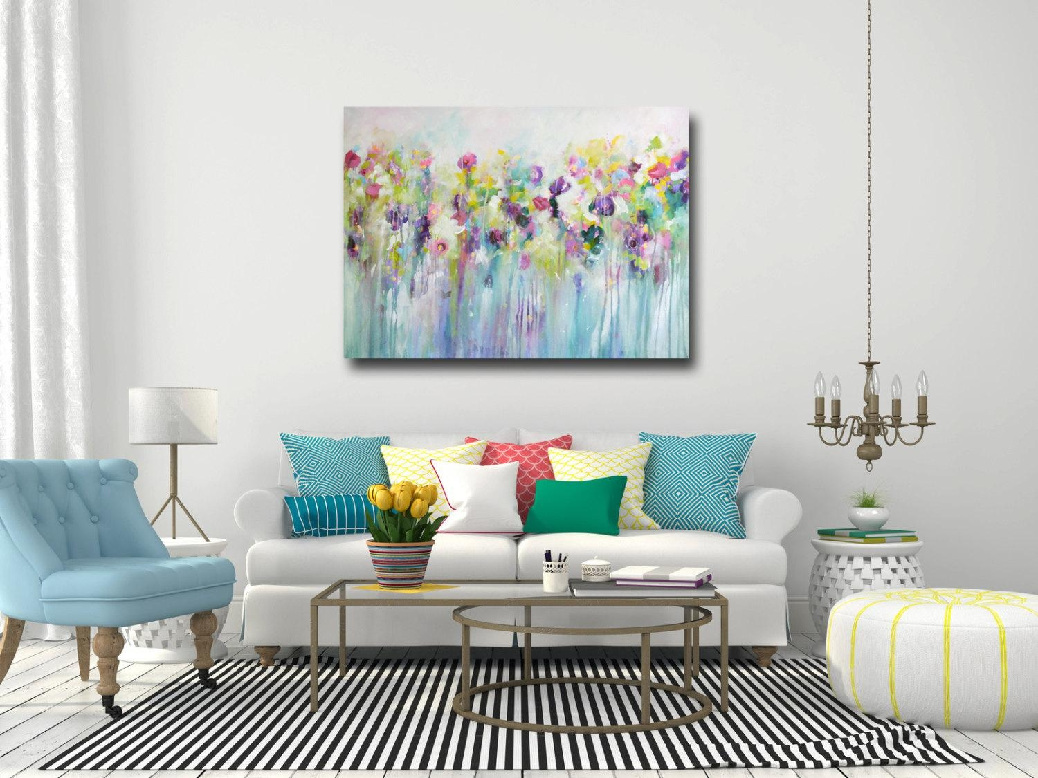 Large Wall Art Canvas Art Abstract Floral Canvas Print Regarding Teal Flower Canvas Wall Art (View 11 of 20)