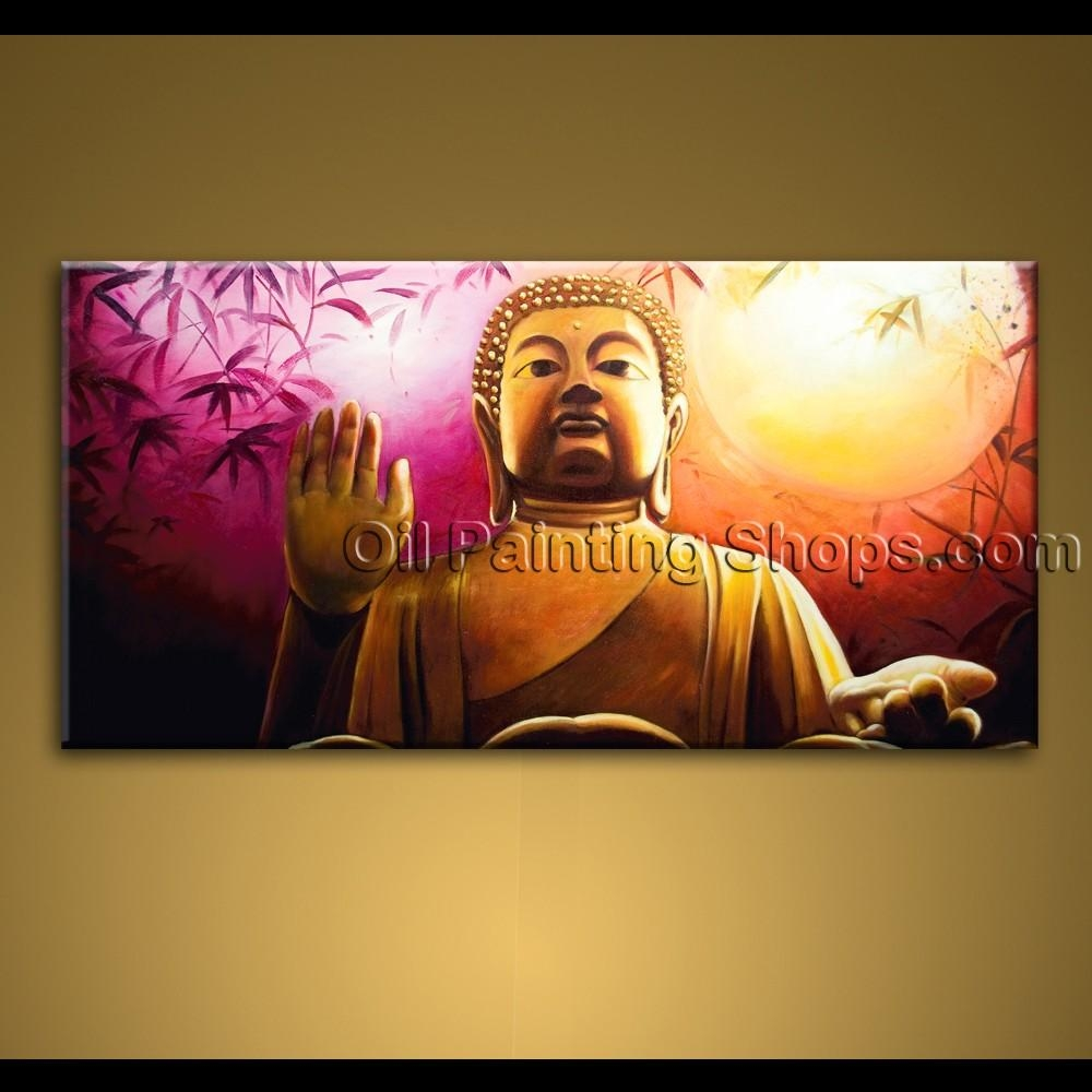 Large Wall Art Feng Shui Original Abstract Buddha Oil Painting Zen Intended For Large Buddha Wall Art (Image 15 of 20)