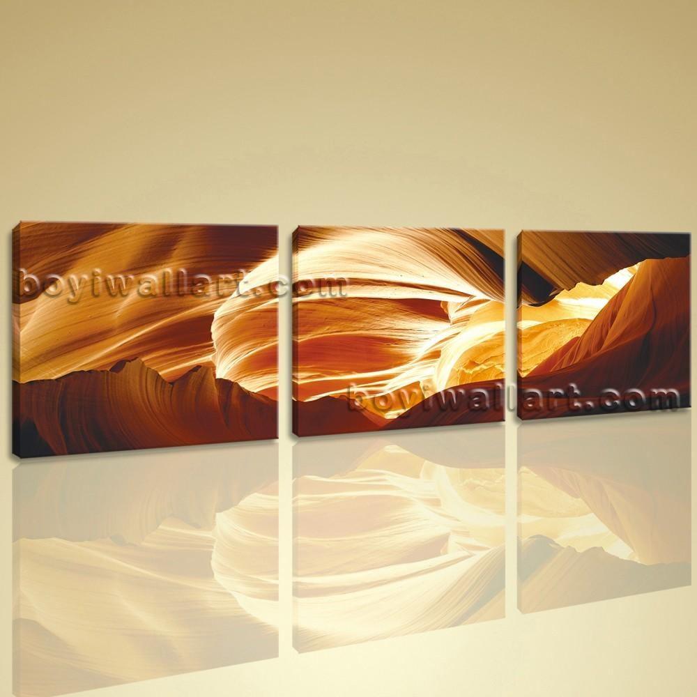 Large Wall Art Modern Abstract Hd Picture Print On Canvas 3 Pieces In Large Yellow Wall Art (View 7 of 20)