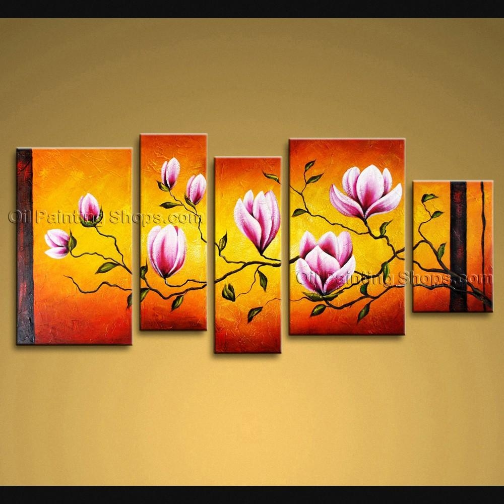 Large Wall Art Modern Abstract Painting Tulip Flower 5 Panels Framed Regarding Extra Large Framed Wall Art (Image 10 of 20)