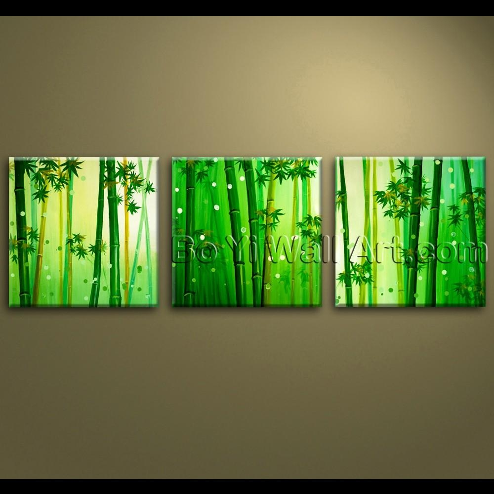 Large Wall Art Oil Painting Canvas Bamboo Feng Shui Artworks Hand Throughout Feng Shui Wall Art (Image 12 of 20)