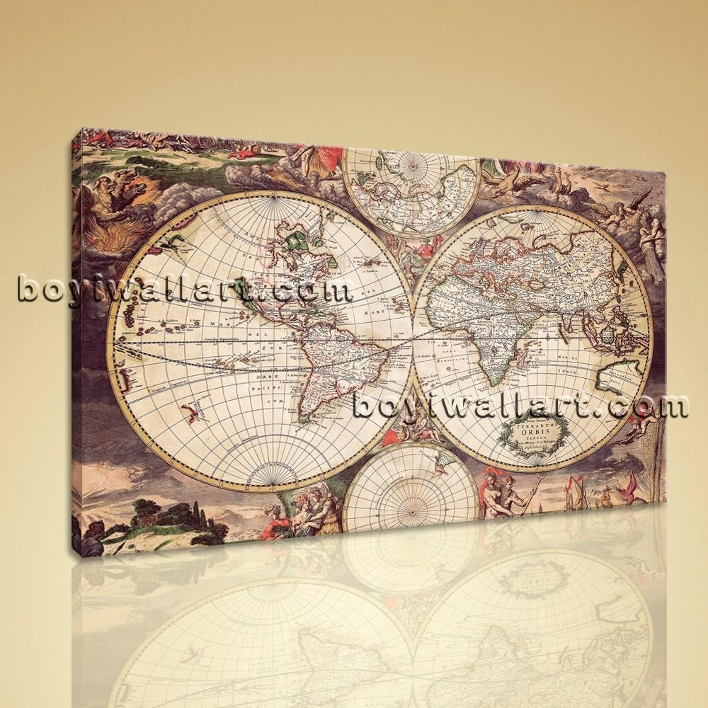 Large Wall Art Print On Canvas World Map Retro Global Atlas Home Decor In Atlas Wall Art (View 12 of 20)