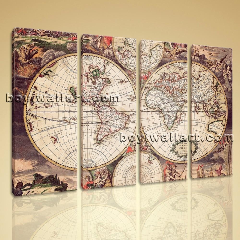 Large Wall Art Print On Canvas World Map Retro Global Atlas Home Decor Inside Map Wall Art (Image 11 of 20)