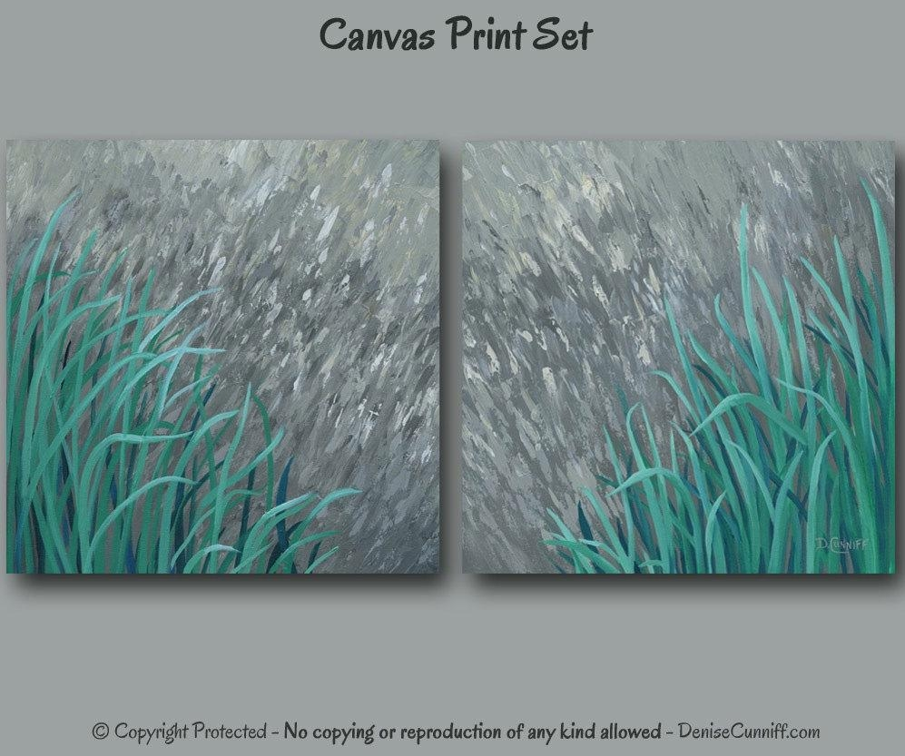 Large Wall Art Teal And Gray Home Decor Abstract Painting Regarding Large Teal Wall Art (View 4 of 20)