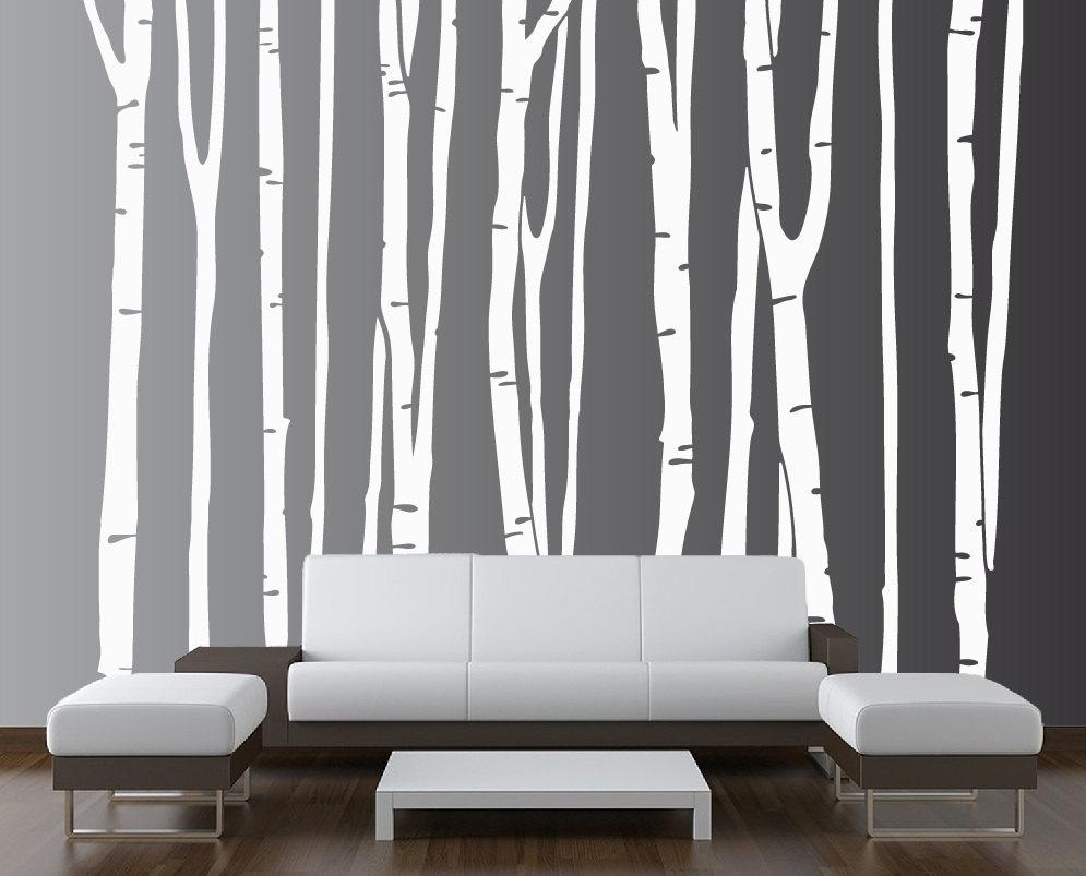 Large Wall Birch Tree Decal Forest Kids Vinyl Sticker Pertaining To Aspen Tree Wall Art (Image 10 of 20)