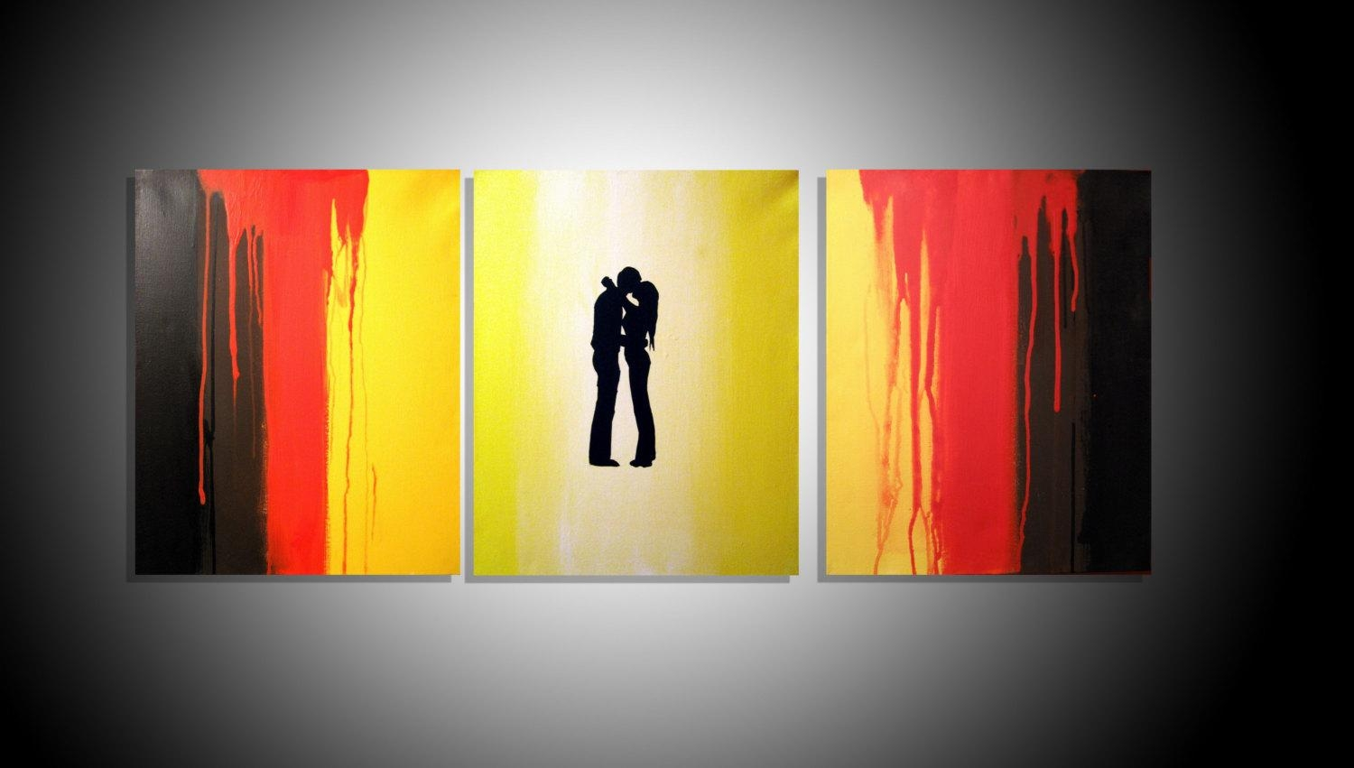 Large Wall Romantic Romance Art Triptych 3 Panel Wall Art Regarding Large Triptych Wall Art (Image 7 of 20)