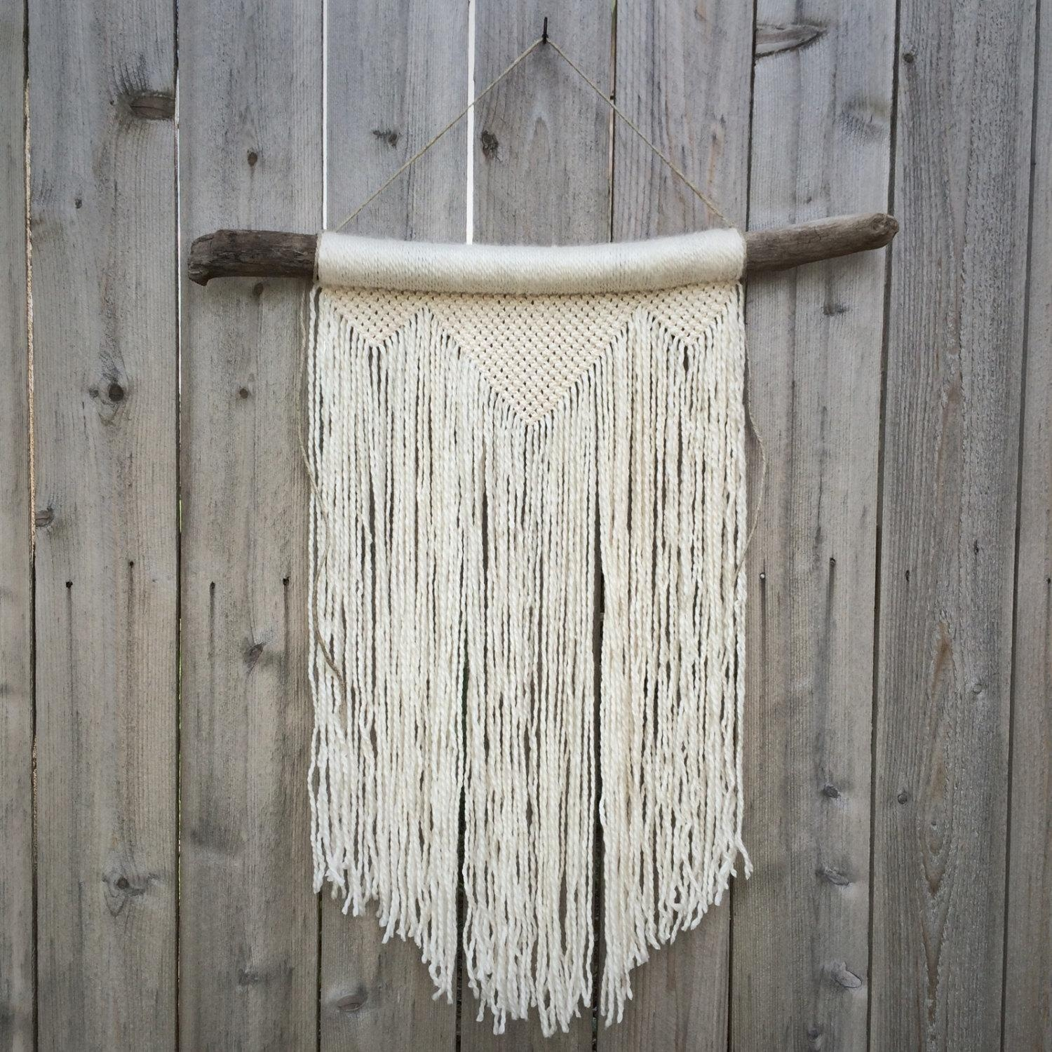 Large White Macrame Wall Hanging On Driftwood Throughout Art Photo