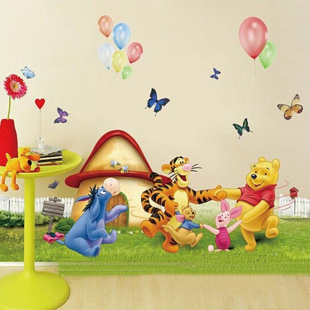 Large Winnie The Pooh And Friends Dancing On The Grass Cartoon Throughout Winnie The Pooh Wall Decor (View 8 of 20)