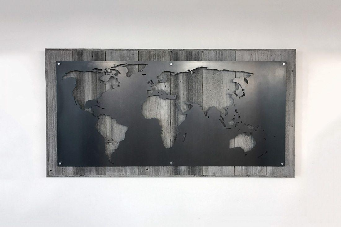 Large Wood And Metal World Map – Grain Designs For Map Wall Art (View 3 of 20)