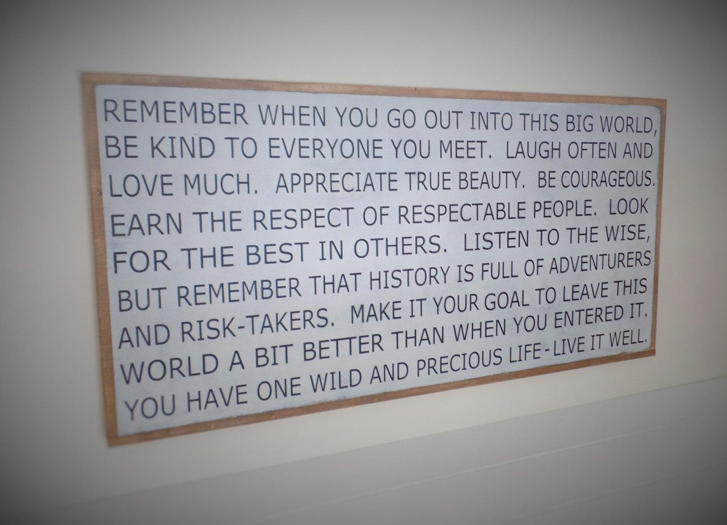 Large Wooden Sign Inspirational Wood Sign Large Typography In Large Inspirational Wall Art (Image 12 of 20)