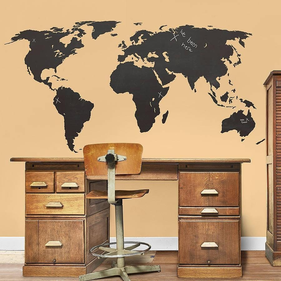 Large World Map Global Atlas Vinyl Wall Art Sticker Tattoos Sided Intended For Atlas Wall Art (View 7 of 20)