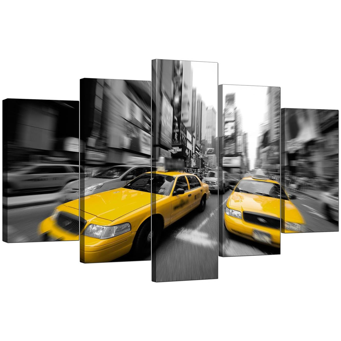 Large Yellow New York Taxi Canvas Prints Set Of 5 In Black & White For Black And White New York Canvas Wall Art (Image 9 of 20)