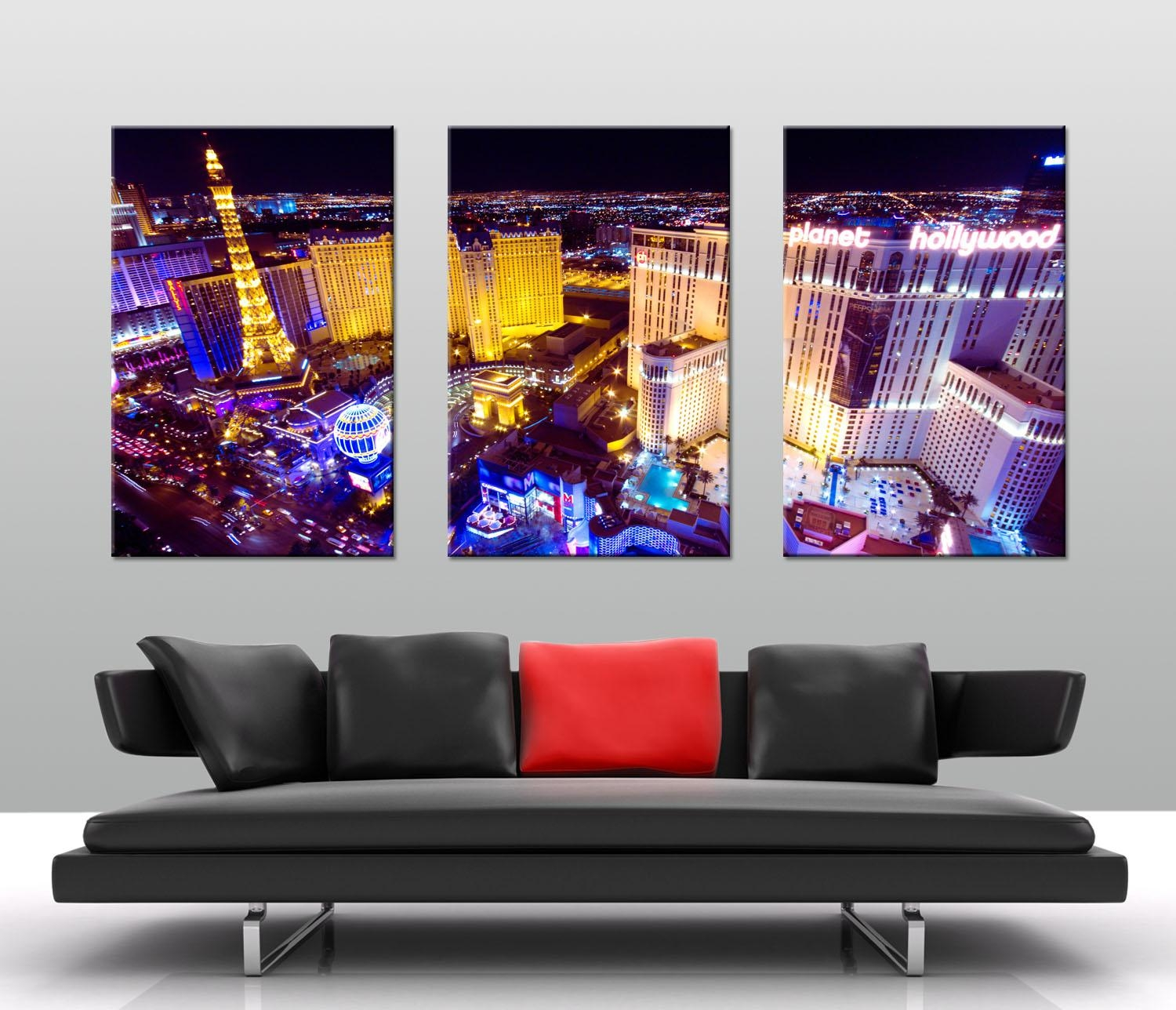 Las Vegas At Night Triptych Art – Canvas Prints Australia Throughout Split Wall Art (Image 7 of 20)