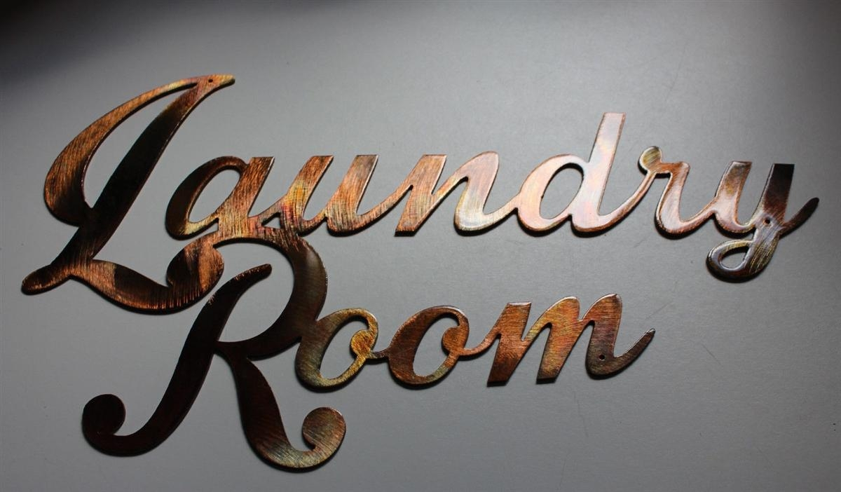 Laundry Room Sign Metal Wall Art Decor Copper/bronze Plated Intended For Laundry Room Wall Art (Image 9 of 20)