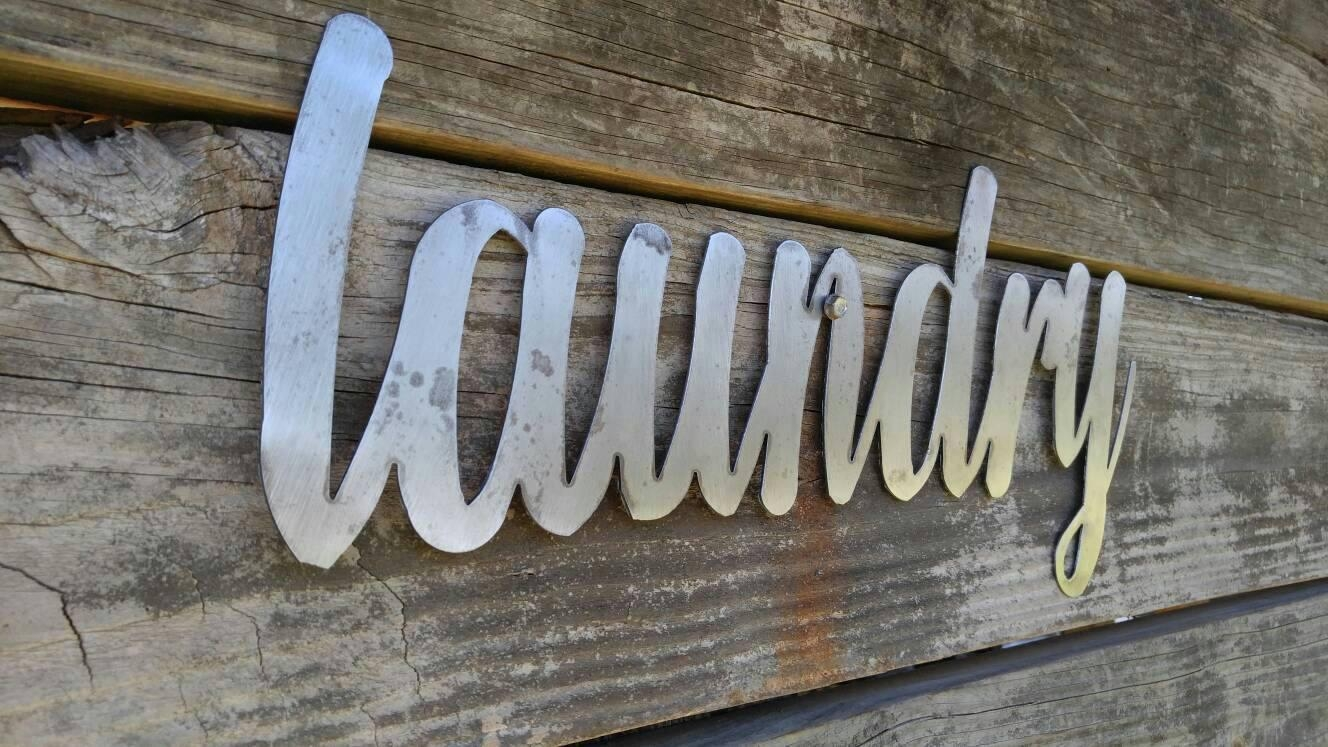 Laundry Sign, Metal Farmhouse Sign, Metal Words, Metal Wall Art For Metal Word Wall Art (Image 8 of 20)