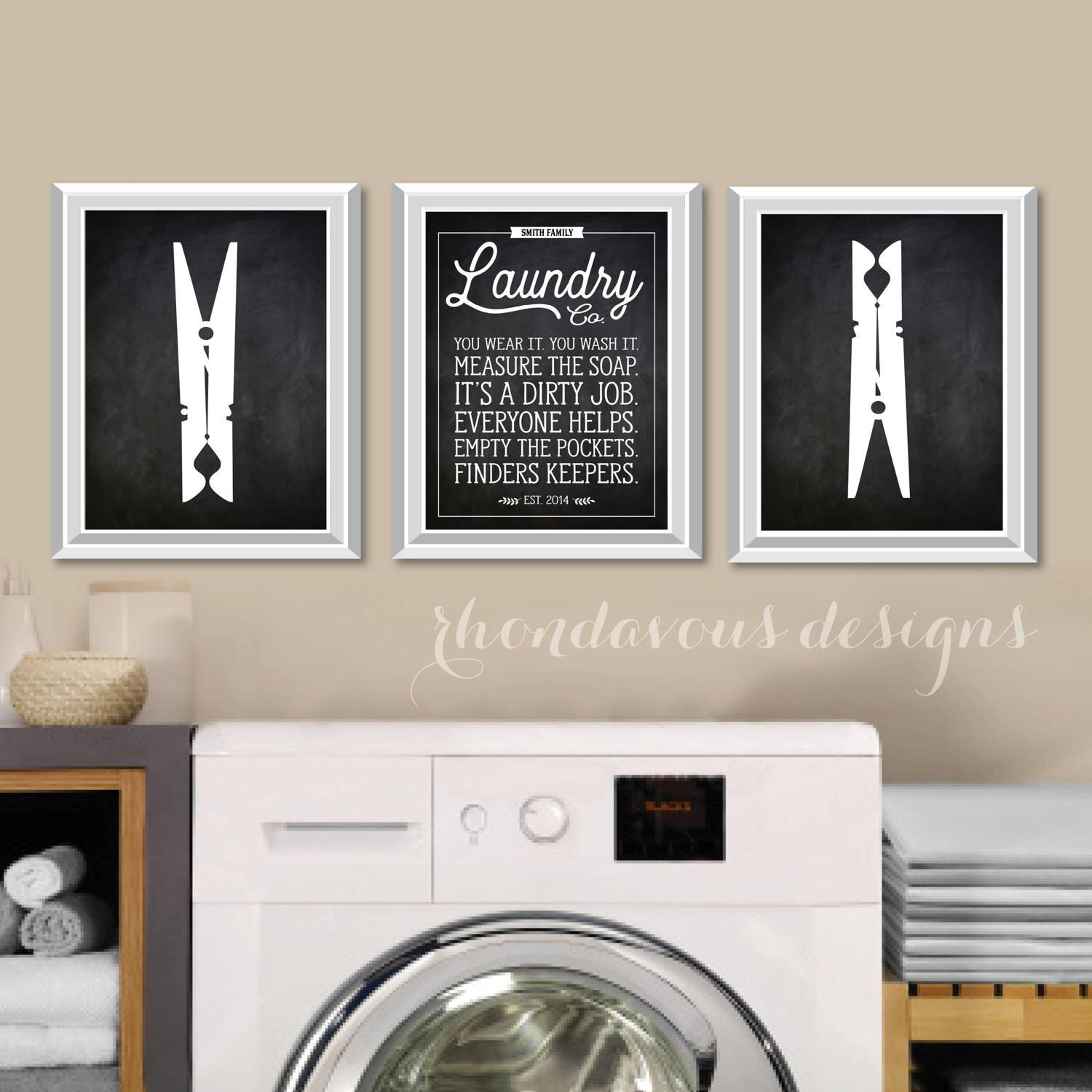 Laundry Wall Art, Chalkboard Quotes, Antique Signs, Farmhouse Regarding Laundry Room Wall Art Decors (Image 19 of 20)