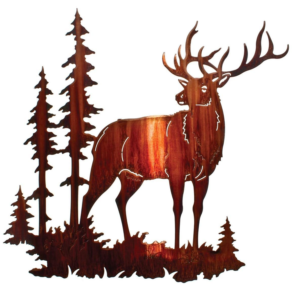 Lazart® Majestic Bull Elk Wall Art, Honey Pinion – 207999, Wall Intended For Lazart Metal Wall Art (View 3 of 20)