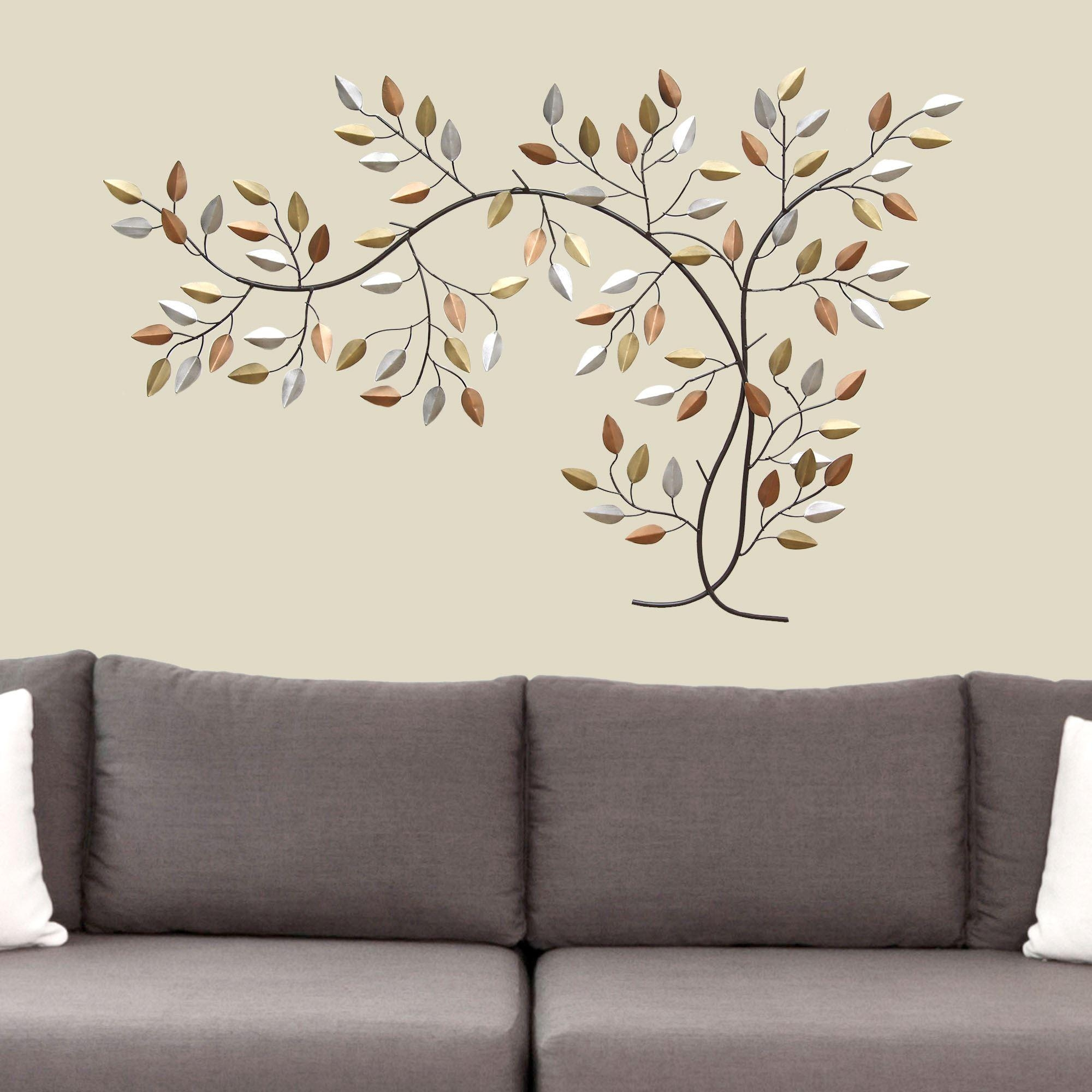 Leaf Branch Metal Wall Art Throughout Tree Branch Wall Art (Image 9 of 20)