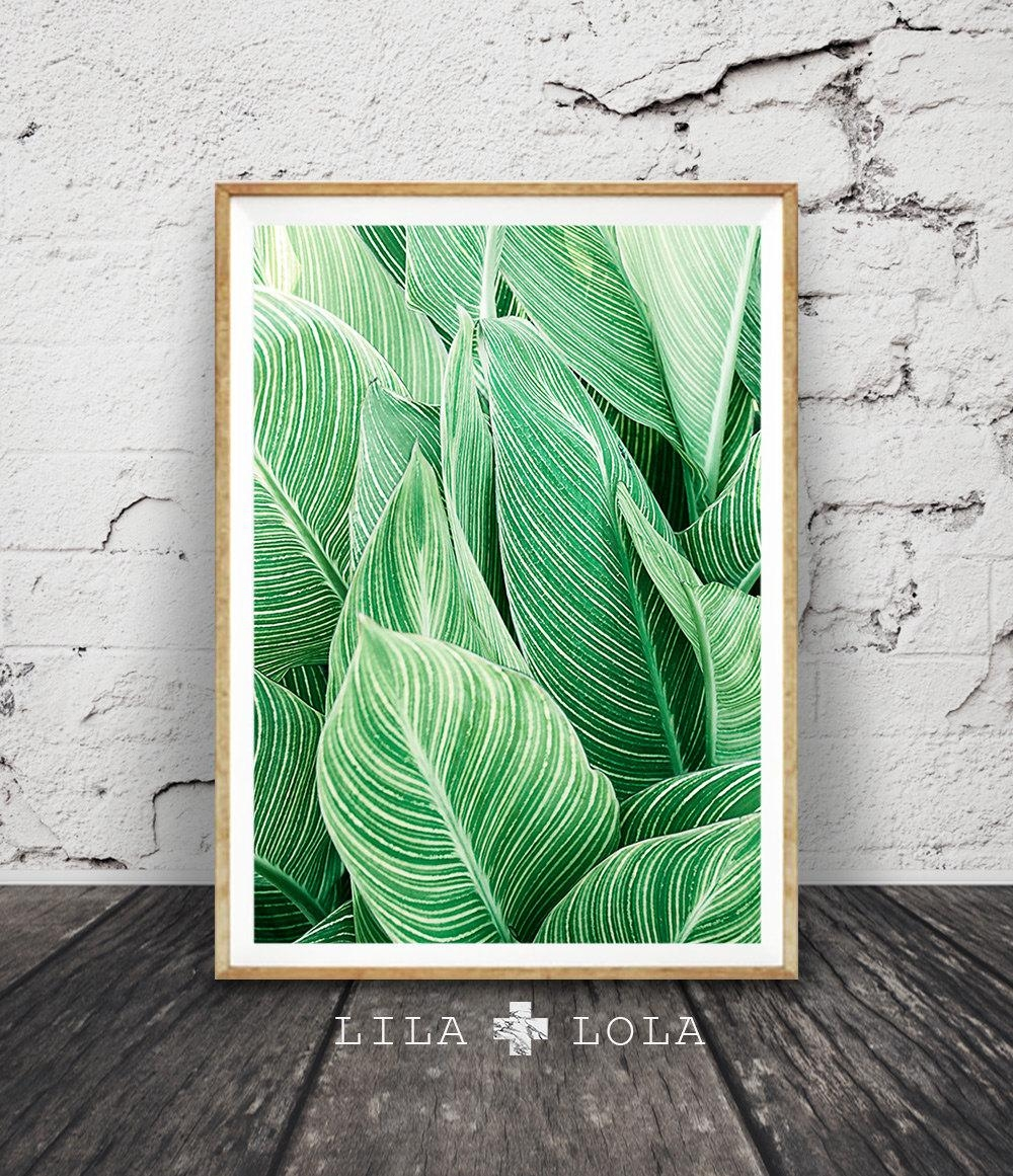 Leaf Wall Art Print Tropical Plant Photo Printable Large Pertaining To Large Green Wall Art (Image 9 of 20)