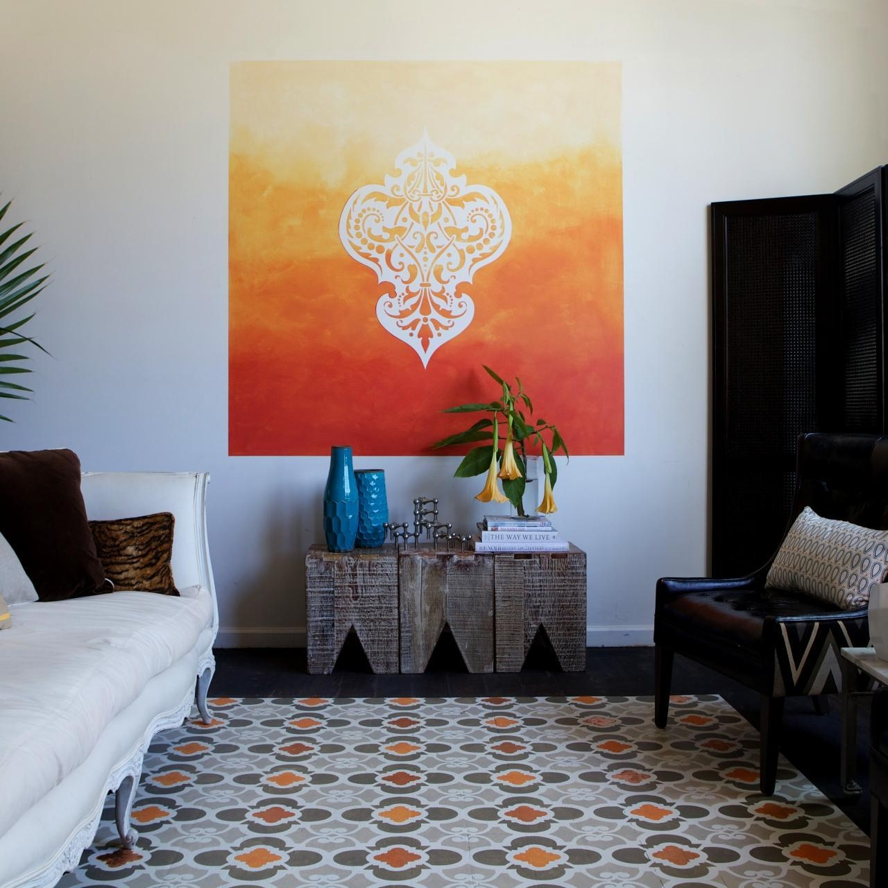 Learn How To Paint A Stenciled Ombre Wall Mural | How Tos | Diy Intended For Space Stencils For Walls (Image 19 of 20)