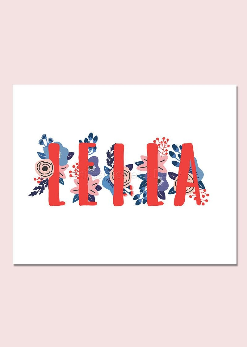 Leila Personalized Name Sign Baby Name Wall Art Baby Name Sign In Baby Name Wall Art (Image 12 of 20)