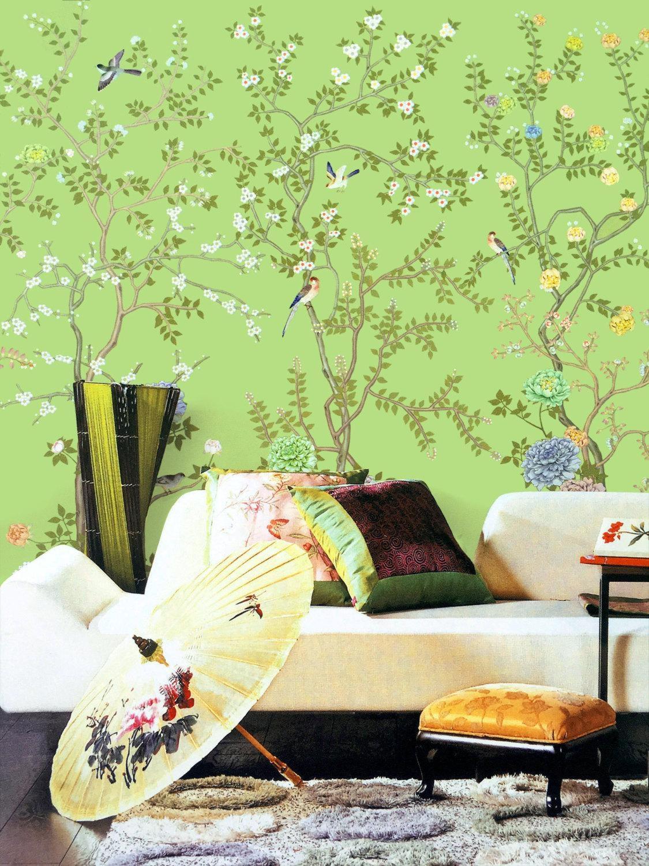 Lemon Green Chinoiserie Wallpaper Exotic Birds Trees Flowering Pertaining To Chinoiserie Wall Art (Image 16 of 20)