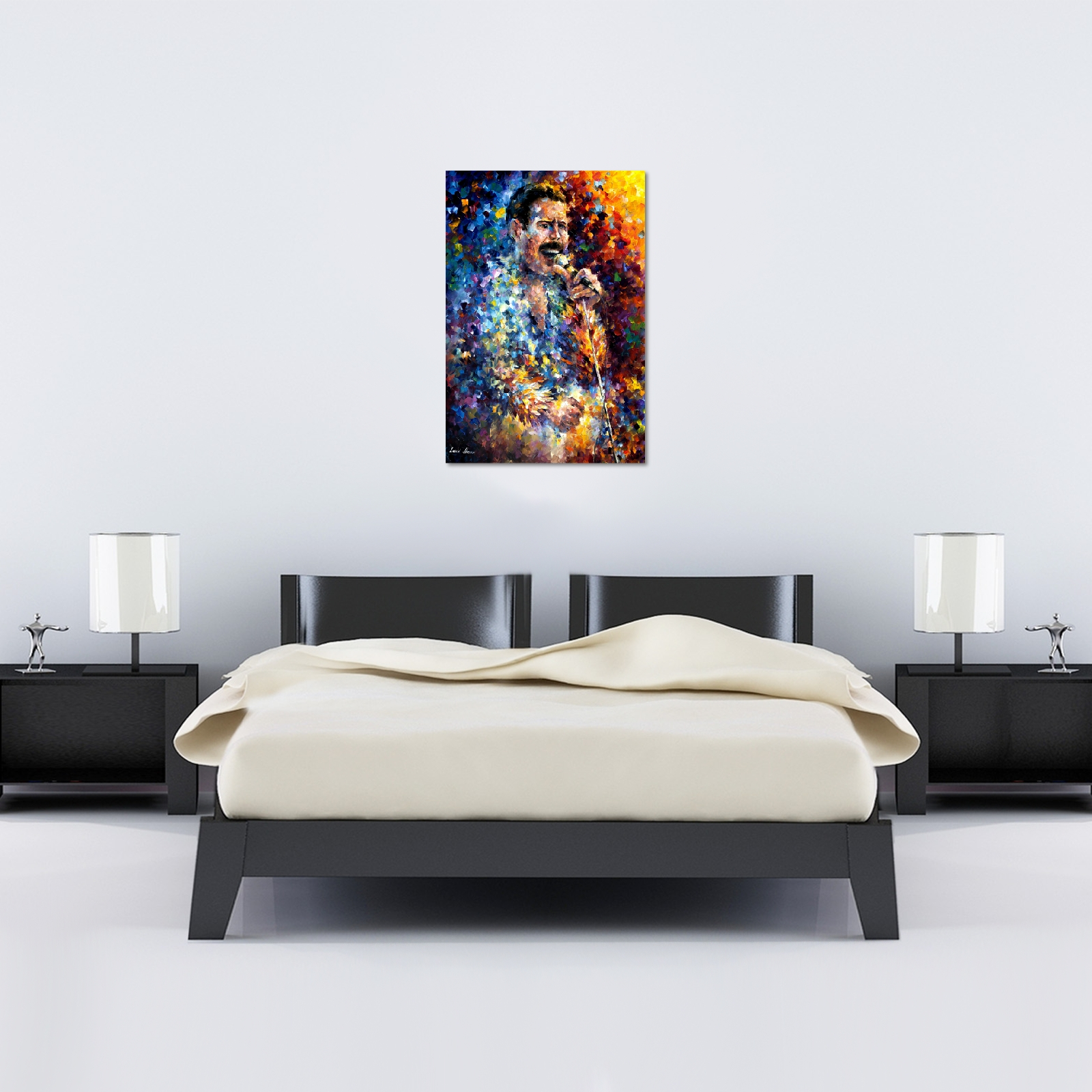 Leonid Afremov Freddie Mercury Canvas – World Art Pertaining To Freddie Mercury Wall Art (Image 12 of 20)